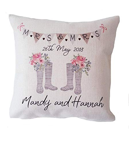 Yohoba Personalised Cushion Wedding Wellies Same Sex Lesbian Mrs & Mrs Gift Cotton Linen Home Decorative Throw Pillowcases Covers Sofa Couch Square 18'' X 18'' by Yohoba