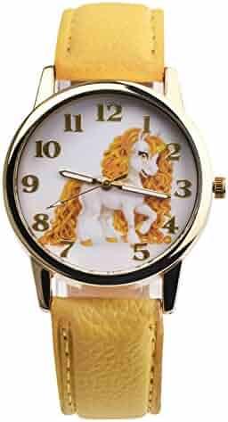 SANWOOD Girl Boy Unicorn Watch Analog Display Faux Leather Quartz Wrist Watch Xmas Gift