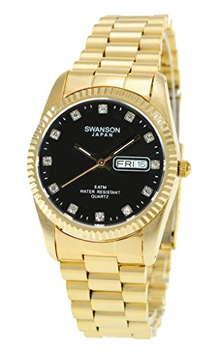 Swanson Men's Gold Day-Date Black Stone Dial Watch with Travel Case