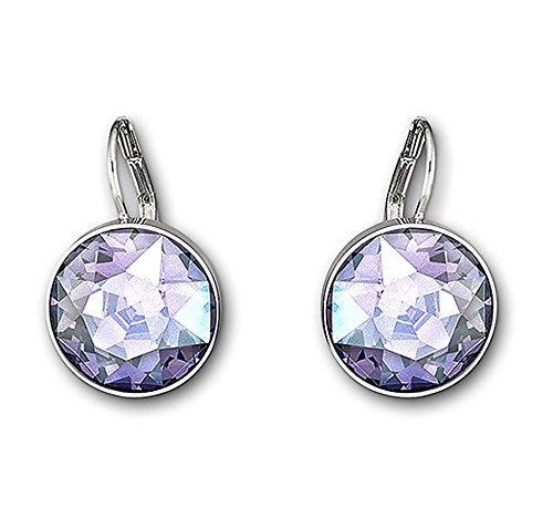 Swarovski Tanzanite Moonlight Crystal BELLA Pierced Drop Earrings Rhodium #5030703