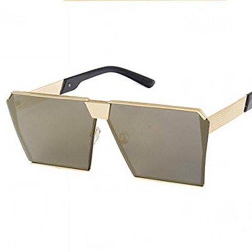 para De Personalizadas enmarcado con Gafas De De Gafas De Marco Cuadradas De Sol Mujer Blanco oro Chaoshan Sol Gafas Sol JUNHONGZHANG Gafas Resina Reflejo De Decorativas Moda Plata Suelo U7pFd7