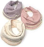 Indi by Kishu Baby - Pom Pom Bibs for Girls with Snaps - 100% Organic Cotton Muslin Exclusive of Trim - 3 Buttery Soft, Soli