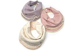 Indi by Kishu Baby - Pom Pom Bibs for Girls with Snaps - 100% Organic Cotton Muslin Exclusive of Trim - 3 Buttery Soft, Solid Color Drool Bibs for Teething Babies