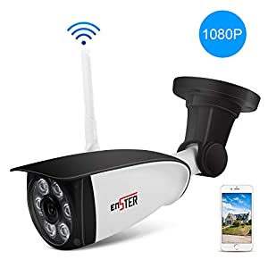 ENSTER Wireless Outdoor Security Camera – 1080P Home Outside Surveillance Camera – Motion Detection, Waterproof, Night Vision, Support Max 128GB SD Card -Windows, iOS, Android Compatibility