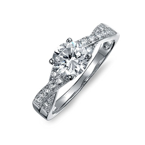 Bling Jewelry 925 Silver 1.2CT CZ Pave Solitaire Engagement Ring with Side Stones, Size 4