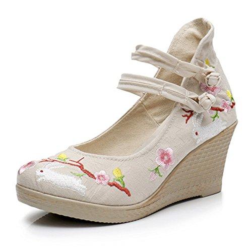 Zapatos Estilo Bordado Jade Wild Único De Tacones Hare Gtvernh Mujer Ropa Pekín Old Tacón Alto Muelle Nacional EqnZU8v