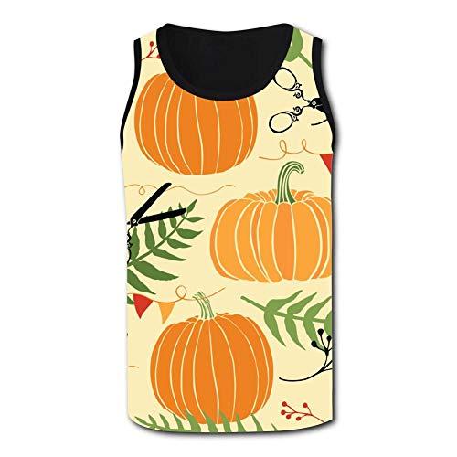 Cute Pumpkin Men's Tank Tops 3D Printed Sleeveless T Shirts Workout Fitness Tank Top for Men