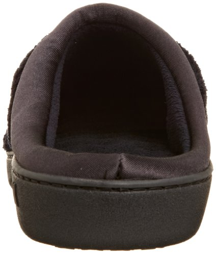 Isotoner Womens Signature Microterry PillowStep Satin Cuff Clog Slippers, Black, 5.5-6 B(M) US