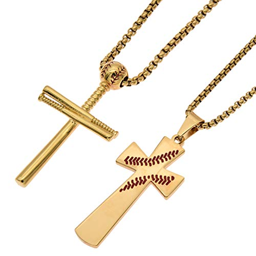 VaryLife Baseball Bat Cross Necklace for Boys Mens Sports Stainless Steel Pendant with Chain Gold, Set of 2