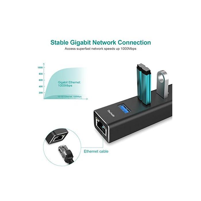 41r6XhnqZRL Haz clic aquí para comprobar si este producto es compatible con tu modelo ? Adaptador Gigabit Ethernet - Acceda a velocidades de red ultrarrápidas de hasta 1000Mbps sin interrupción, compatible con versiones anteriores de 10/100Mbps. La ethernet RJ45 le ofrecerá una forma eficiente y práctica de reemplazar la tarjeta de red que no funciona correctamente en la placa. ? 3 USB 3.0 Puertos - El hub agregue fácilmente 3 puertos USB SuperSpeed a su PC y disfrute de velocidades de transferencia de datos de hasta 5 Gbps. Admite Hot Swap y Plug & Play en la mayoría de los dispositivos USB. ? El LED azul indica el funcionamiento normal.