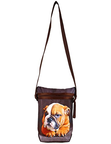 Grafica digitale Cane Croce Body Satchel Handbag - Adorabile stampa all-over - Poliestere Dupion Faux Seta - 8 x 10 x 2,5 pollici