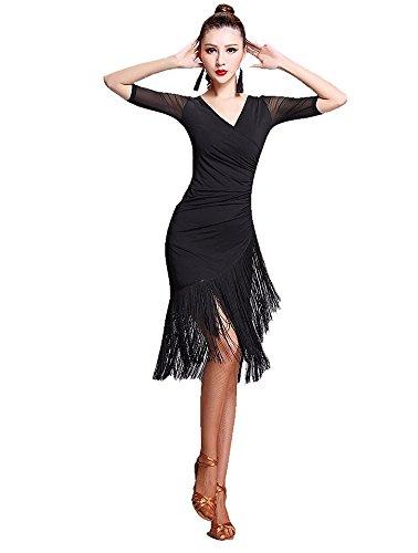 TALENT PRO Latin Rhythm Ballroom Carmen Fringe Tango Dance Dress (X-Large) ()