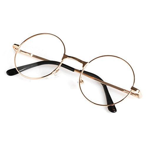 Magicub Retro Unisex Round Presbyopic Reading Glasses Metal Frame Personality Eyeglass 1.0 ~4.0 (GD - Round Reading Glasses