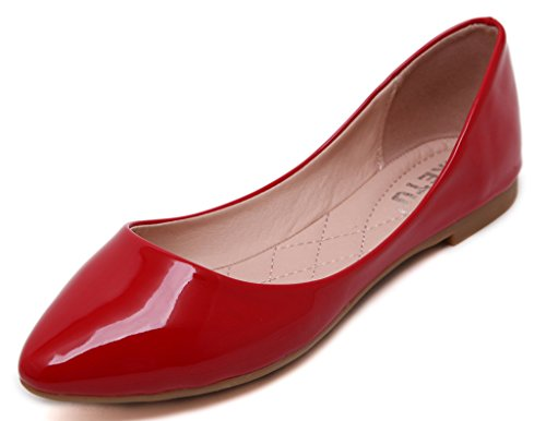 JDS Red Fashion Cone Casual soled Color Pumps Solid Pointed Super Fortuning's Soft qPwxCdFqf