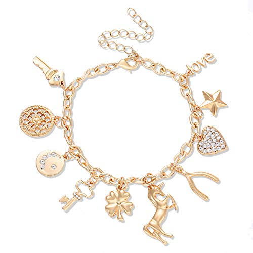 Gold Charm Bracelets (CEALXHENY Women's Charm Bracelet Polished Unicorn Star Clover Drops Rhinestone Paved Heart Pendant Bangle Bracelets)