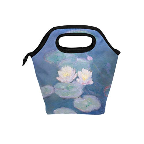 Claude Monet Art Water Lilies Lunch Box Insulated Cooler Thermal Reusable Tote Bag Portable ()