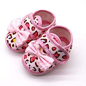 0-18 Months, 2019 Hot Baby Girls Pink Leopard Print Bow Prewalker Soft Sole Sandals Single Shoes