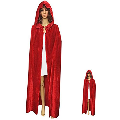 Adult's Red Floor Length Devil Witch Wizard Magician Hooded Cape Cloak