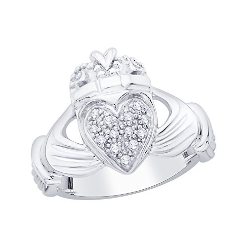 Women's Claddagh Ring Love Heart Celtic Knot Crown Engagement Ring in 10K White Gold (1/5 cttw) (Size-10.5)