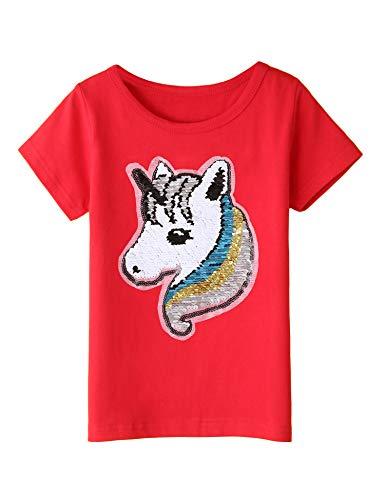 Balasha Girl's Unicorn Tee Shirts Kids  and  Toddler Summer Short Sleeve Flip Sequin T-Shirt Tops Red, 5-6 Y ()