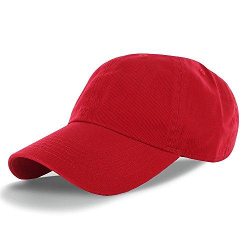 Plain 100% Cotton Hat Men Women Adjustable Baseball Cap (30+ Colors) Red One Size