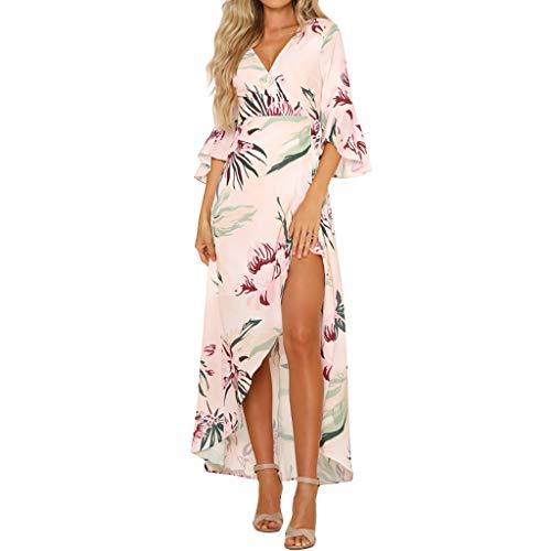 Pink Camouflage Cap Sleeve T-shirt - Midi Dresses for Women 3/4 Sleeves,MILIMIEYIK Women's Swing T-Shirt Dress Summer Print V Neck Ruffle Split Bohemia Dress Pink