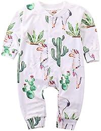 Toddler Baby Boys Girls Cute Outfit Long Sleeve Romper Cartoon Cactus Alpaca Print Bodysuit Clothes Set
