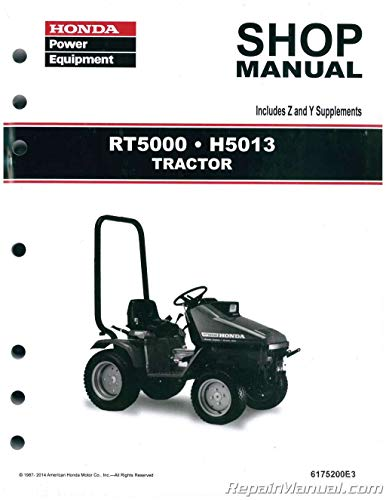 6175200E3 Honda H5013 RT5000 Lawn Tractor Shop Manual - Lawn Tractor Manuals