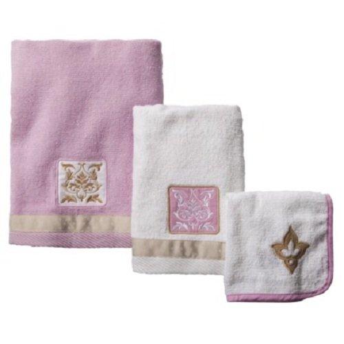 Tiddliwinks Baroque Damask 3pc Towel Set - Pink/Mocha