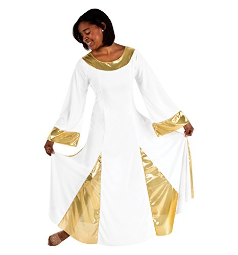 [Body Wrappers Womens ROBE 575 -WHT/HPK/HGN M] (Dance Costumes For Praise And Worship)