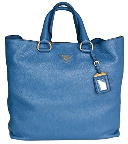 Prada Women's BN1713 BBE F0215 Blue Leather Shoulder Bag