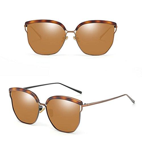 Harajuku TangMengYun de Gafas Estilo Brown Color Gafas polarizadas Silver Mujer Sol de para Sol Retro nvvwrRxf