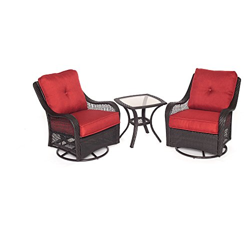 Hanover ORLEANS3PCSW-B-BRY Orleans 3 Piece Swivel Rocking Chat Set, Autumn Berry - Swivel Rocking Set