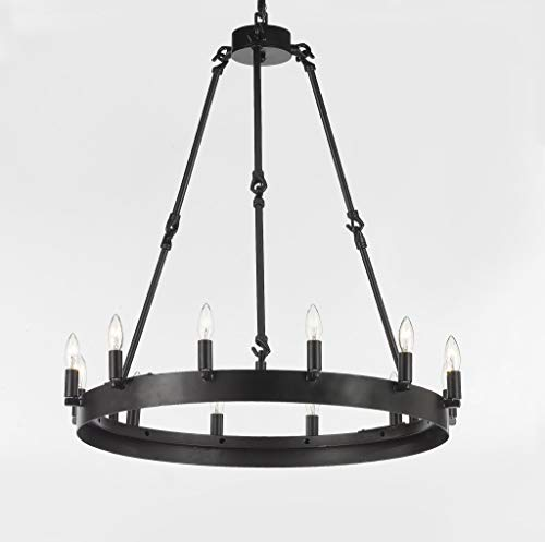 Wrought Iron Vintage Barn Metal Castile One Tier Chandelier Chandeliers Industrial Loft Rustic Lighting W 26