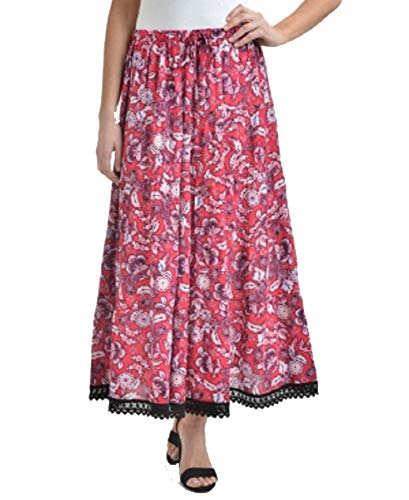NY Collection Printed Tiered Crochet-Trim Midi Skirt (Red Roxyyard, XL) ()