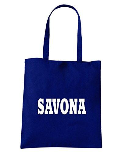 T-Shirtshock - Bolsa para la compra WC0871 SAVONA ITALIA CITTA STEMMA LOGO Azul Marino