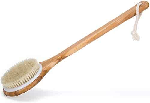 Bath Dry Body Brush-Natural Bristles Back Scrubber With Long Wooden Handle for Cellulite & Exfoliating by Janrely