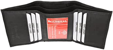 Marshal Premium Slim Classic Trifold Leather RFID Blocking Wallet For Men & Women | Genuine Leather Holder With 6 Slots, 2 Bill Compartments & ID Window | For Cards, Money, Driver's License, Travel