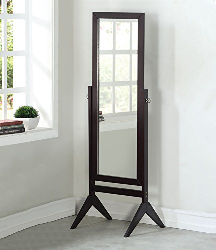 Legacy Decor Espresso Finish Wood Rectangular Cheval Floor Mirror, Free Standing Mirror -