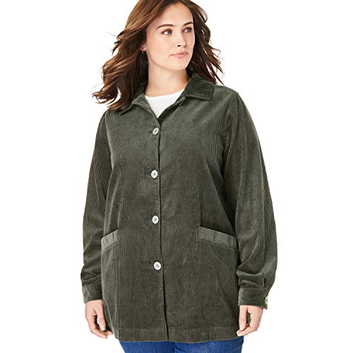 Coat Wale Corduroy - Woman Within Women's Plus Size Pleat-Back Corduroy Jacket - Vintage Moss, L