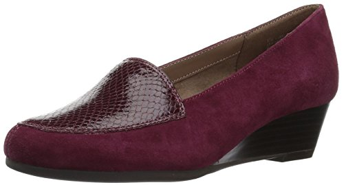 Aerosoles Women's Lovely Slip-on Loafer, Wine Snake, 7.5 W US (Flats Suede Print)