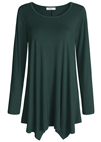 Esenchel Women's Long Sleeve Tunic Top For Leggings Flared Shirt XL Forest Green