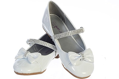 Gwen & Zoe GZ5501 White Low Heel w/Rhinestone Strap & Bow (3, White)]()