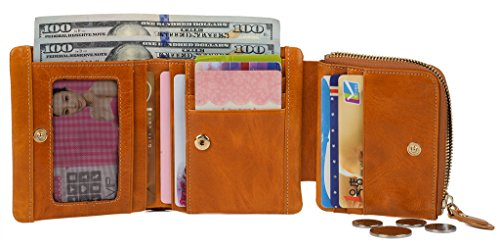 YALUXE Womens Compact Leather Pocket
