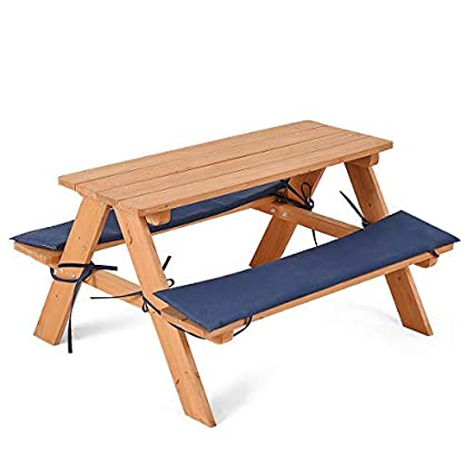 Costzon Kids Picnic Table, Solid Wood Bench Set Up To 4 Seat, Unfinished