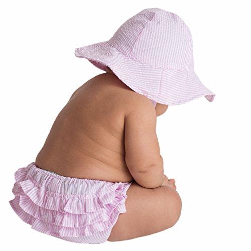 Huggalugs Baby and Toddler Girls Pink Seersucker Ruffled Bloomer 12-24 Months ()
