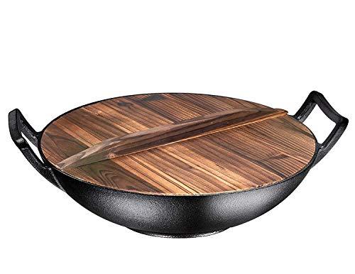 Bruntmor, Pre-Seasoned Cast Iron Wok, Black, 14-inch w/Large Loop Handles & Flat Base With Wooden Lid