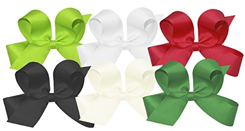 Wee Ones Girls' Large Bow 6 pc Set Solid Grosgrain Variety Pack on a WeeStay Clip - Apple Green, White, Red, Black, Antique White, Green