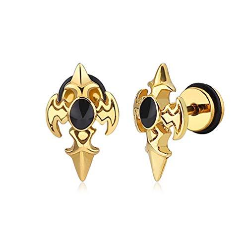 Goth Men's Stainless Steel Cross Sword Biker Vintage Fleur De Lis Pierced Stud Earrings for Men Boys, Silver Gold Black