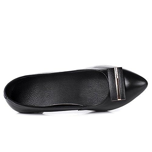 Court Black Talons De Cuir Fermé Travail Robe Shallow Bureau Pompes Véritable Toe Chaussures Mariage Femmes Parti Chaton 4xf6na